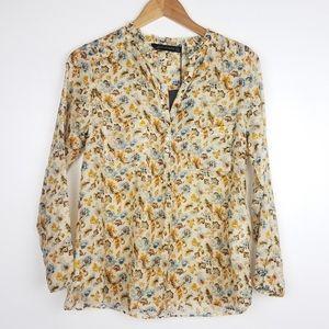 New! Zara   Silk Blend Button Down Floral Print
